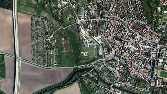 Luftbildaufnahme von Artern