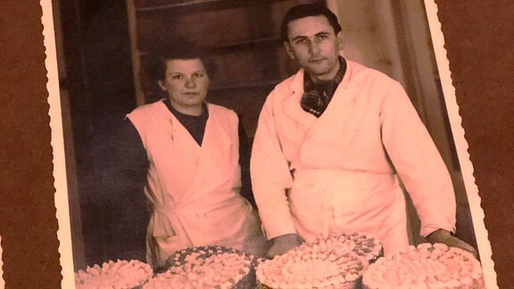 Ein altes Foto mit Bäckern darauf