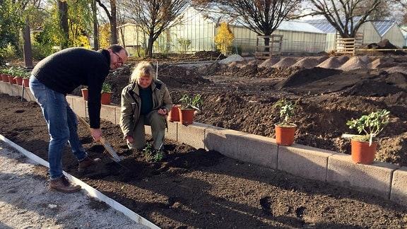 Gärtnerin Yvonne Uthardt und Rosenzüchter Volker Rönigk pflanzen Rose
