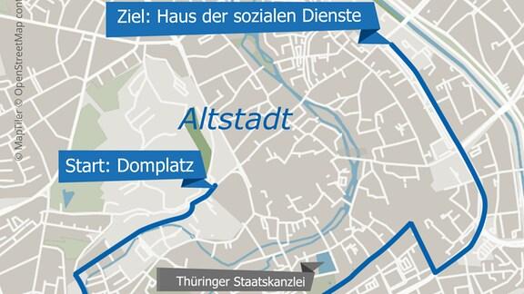 Die Grafik zeigt die geplante Route der Demonstration #Nichtmituns durch Erfurt.