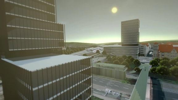Grafischer Entwurf der geplanten ICE city