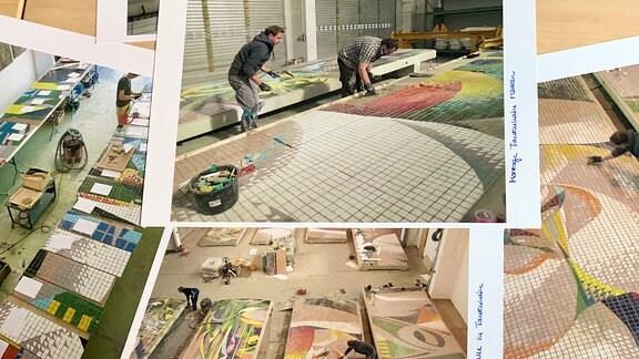 Ausgebreitete Fotos von Restaurierungsarbeiten an Mosaik.