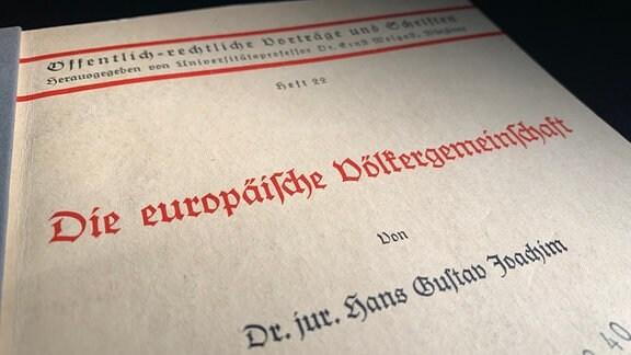 Dissertation des Juristen Hans Gustav Joachim aus NS-Zeit