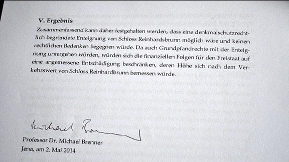 Ergebnis des Gutachtens von Professor Michael Brenner von der Universität Jena zu Schloss Reinhardsbrunn.