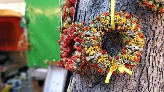 Kränze aus getrockneten Blumen hängen an einem Baumstamm.