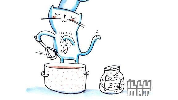 Mutmach-Grafik Kochende Katze