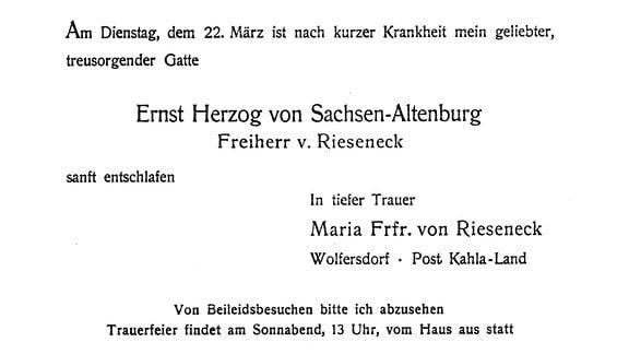 Sterbeanzeige: Die Sterbeanzeige von Ernst von Sachsen-Coburg, ehemaliger Herzog.