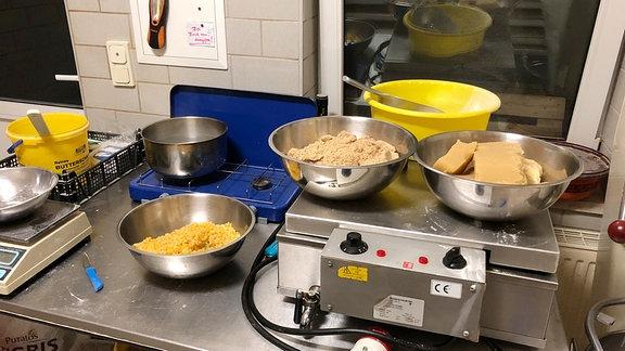 Zutaten für Gebäck in einer Bäckerei