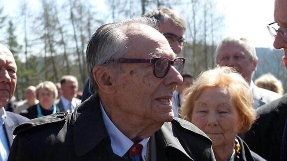 Jean Jouanin aus Frankreich kam als Überlebender des KZ Mittelbau-Dora zu der Gedenkveranstaltung