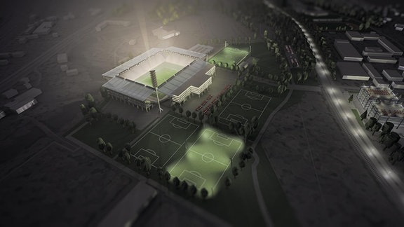 Entwurf des FC Carl Zeiss Jena für ein umgebautes Stadion im Ernst-Abbe-Sportfeld.