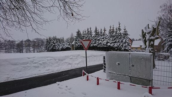 Reichstädt im Landkreis Greiz im Schnee