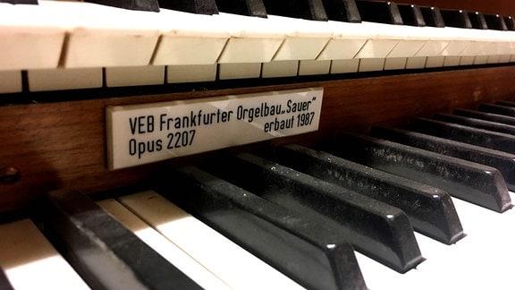 Die schwarzen und weißen Tasten einer Orgel.