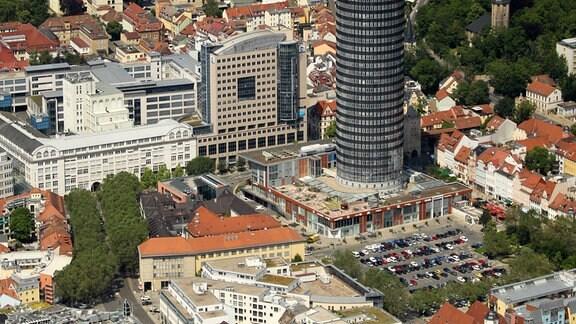 Jena von oben mit Eichplatz, Friedrich-Schiller-Universität und Intershop-Tower