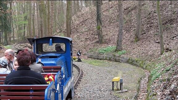 Ein Zug der Parkeisenbahn Gera fährt durch einen Wald. Der Zug wird von einer blauen Lok gezogen, in einem offenen Waggon dahinter sitzen mehrere Personen.