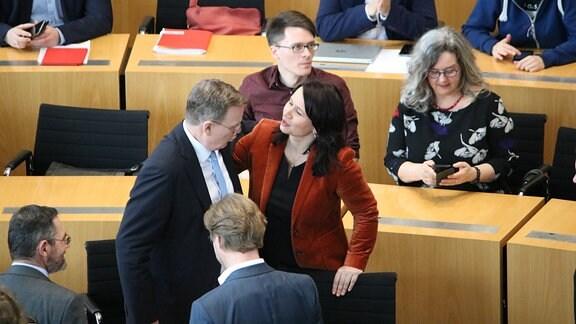 Bodo Ramelow (Linke) und Anja Siegesmund (Grüne) im Thüringer Landtag