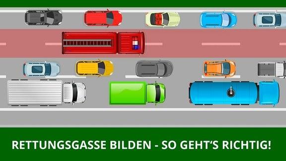 Grafik: Rettungsgasse auf dreispuriger Autobahn