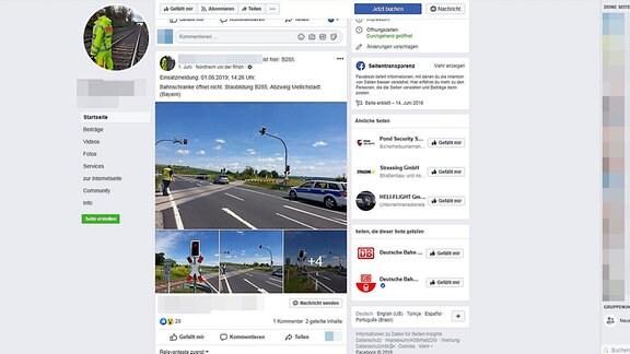 Screenshot eines Facebook-Posts, der die Firmenwagen des Sicherheitsunternehmens zeigt, die Polizeiautos ähneln