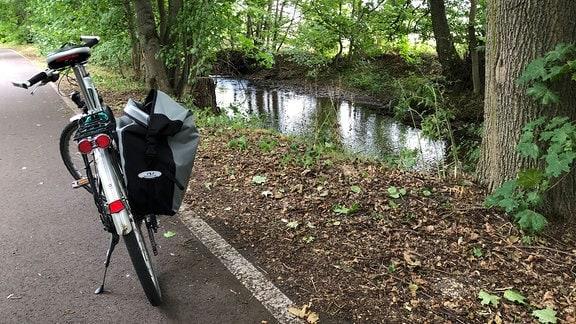 Ein Fahrrad steht auf dem Radweg an einem Fluss.