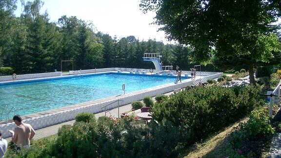 Schwimmbecken mit schattigen Liegeplätzen und einem Sprungturm.