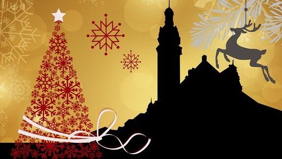 Silhouette des Altenburger Rathauses umrahmt von weihnachtlichen Motiven