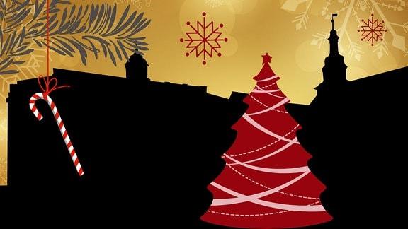 Silhouette der Häuser des Eisenacher Marktes umrahmt von weihnachtlichen Motiven
