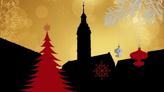 Silhouette des Geraer Rathauses umrahmt von weihnachtlichen Motiven