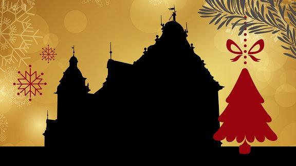 Silhouette des Gothaer Rathauses umrahmt von weihnachtlichen Motiven