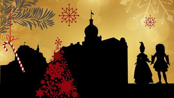 Silhouette des Unteren Schlosses in Greiz umrahmt von weihnachtlichen Motiven