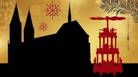 Silhouette der St. Marien Kirche in Heiligenstadt umrahmt von weihnachtlichen Motiven