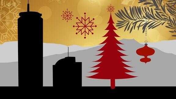 Silhouette des JenTowers in Jena umrahmt von weihnachtlichen Motiven