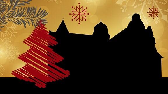 Silhouette der Burg Kranichfeld umrahmt von weihnachtlichen Motiven