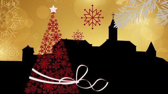 Silhouette der Leuchtenburg umrahmt von weihnachtlichen Motiven