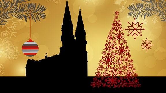 Silhouette der Meininger Stadtkirche umrahmt von weihnachtlichen Motiven