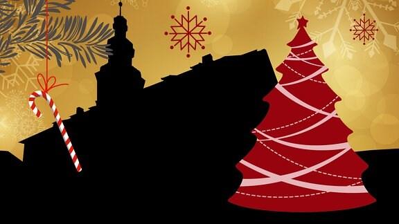 Silhouette des Rathauses in Nordhausen umrahmt von weihnachtlichen Motiven