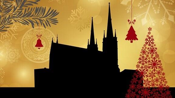 Silhouette der Saalfelder Kirche umrahmt von weihnachtlichen Motiven