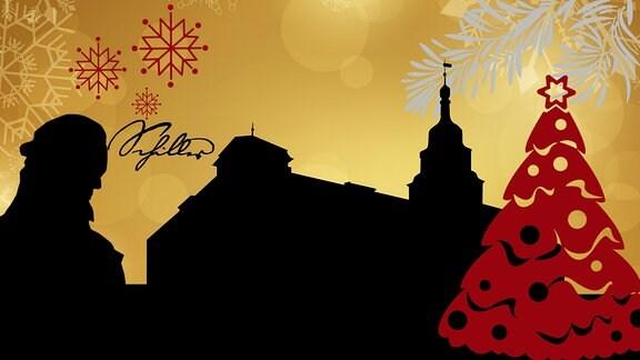 Silhouette des Rudolstädter Rathauses sowie Schiller-Kopfes umrahmt von weihnachtlichen Motiven