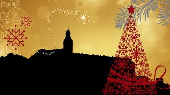 Silhouette der Rudolstädter Heidecksburg umrahmt von weihnachtlichen Motiven