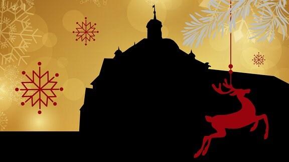 Silhouette des Suhler Rathauses umrahmt von weihnachtlichen Motiven
