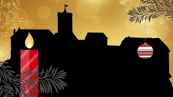 Silhouette der Wartburg umrahmt von weihnachtlichen Motiven