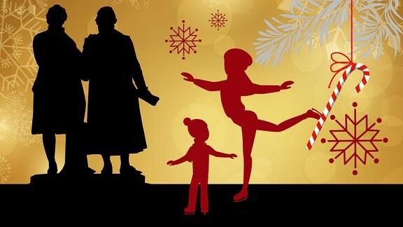 Silhouette des Goehte-Schiller-Denkmals umrahmt von weihnachtlichen Motiven