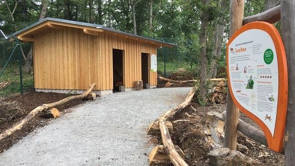 Im Rundgang des Wildkatzendorfes gibt es jetzt neue Wege - hin zum Luchs-Beobachtungshaus...