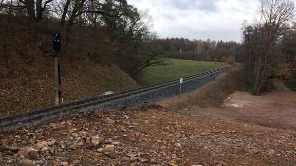 Gleise in einer kargen Landschaft