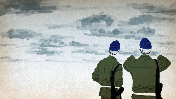 Zeichnung: Zwei Menschen blicken ins Weite.