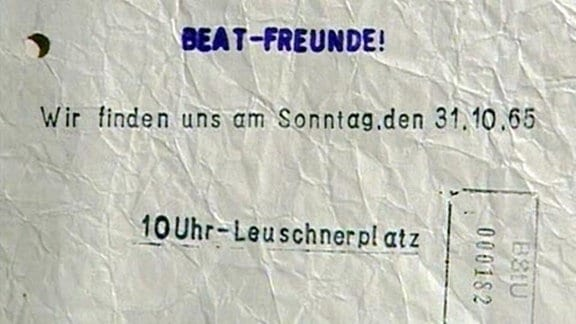 Flugblatt mit einem Protestaufruf an Beatfreunde