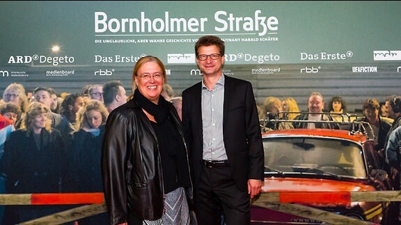 "Jana Brandt, Wolf-Dieter Jacobi bei der Premiere ""Bornholmer Straße"" am 23.10.2014 im Kino International in Berlin"