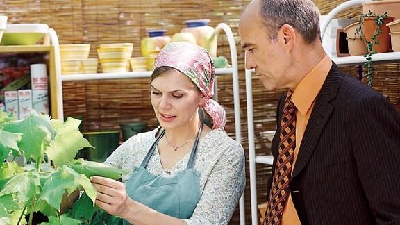 Rechtsanwalt Zörnig kauft bei Leni Bluhm Pflanzen für seine Kanzlei