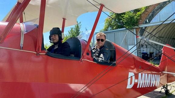 Jan Meißner ist Fluglehrer, heute will er mitr seinem Sohn Tim abheben