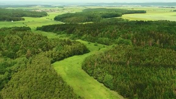 Blick über Wald, Felder und eine Stadt aus Vogelperspektive.