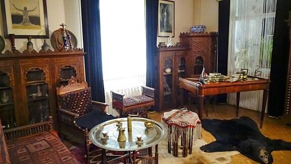 Das ehemalige Arbeitszimmer von Karl May in der Villa Shatterhand.