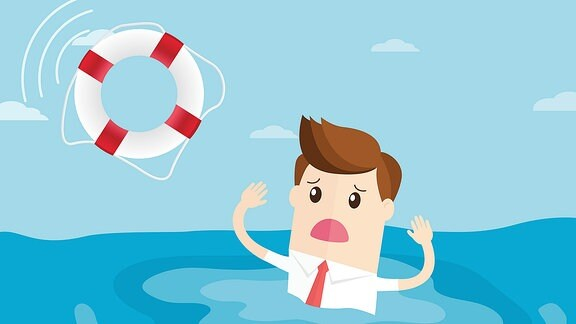 Eine grafische Darstellung eines Mannes in Hemd und Krawatte, der im Meer in Not geraten ist. Ein Rettungsring wird ihm zugeworfen.